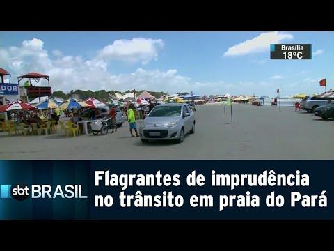 Motoristas são flagrados bebendo ao volante em praia do Pará | SBT Brasil (21/07/18)