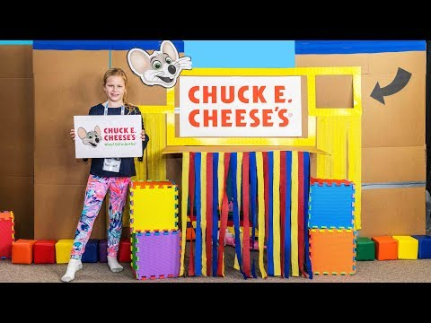 Ultimate Box Fort Chuck Cheese's with the Assistant with the Arcade and Ball Pit