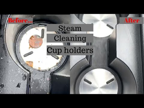 Steam cleaning cup holders. @DreamTeamDetailingHTX