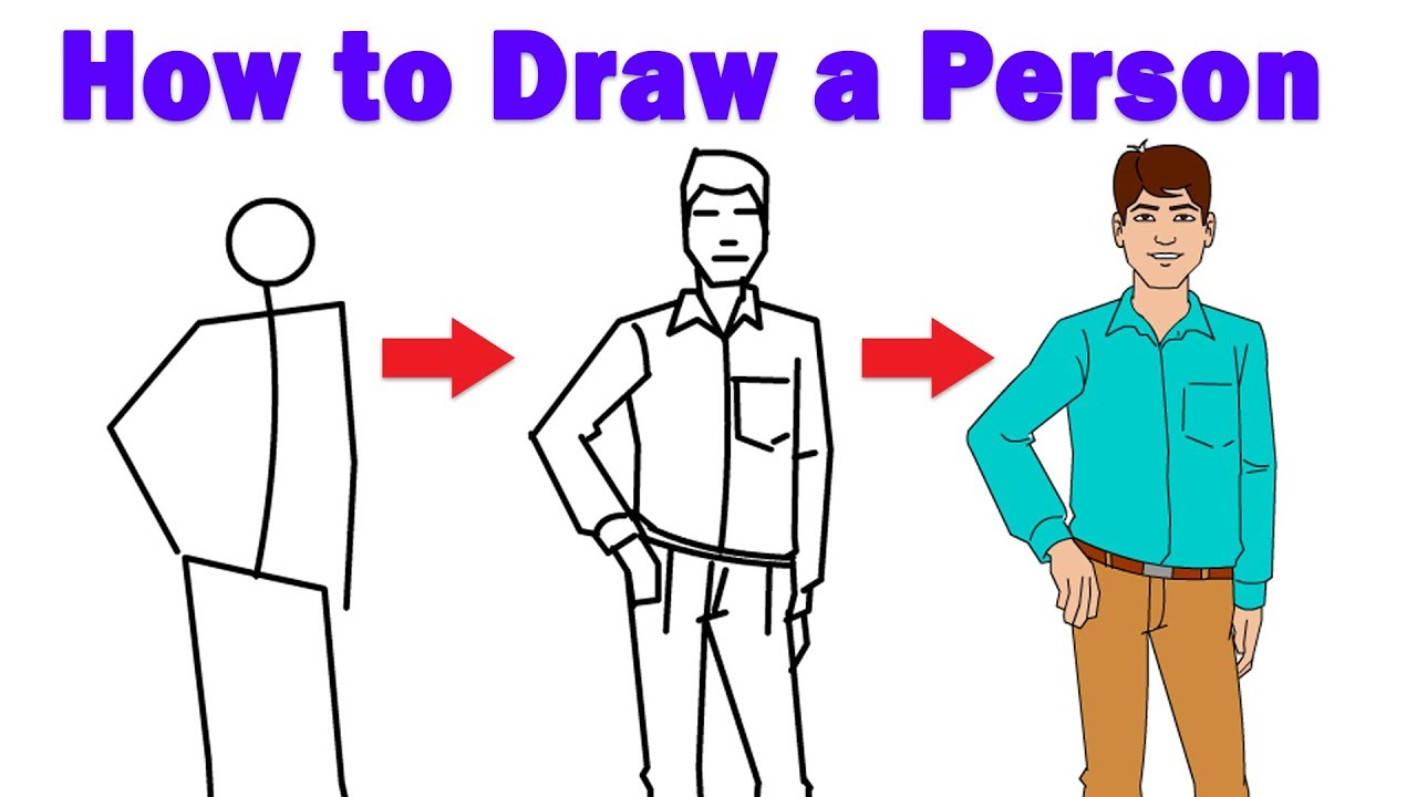 How To Draw A Person Step By Step For Beginners Easy For Kids Drawing Tutorial Youtube