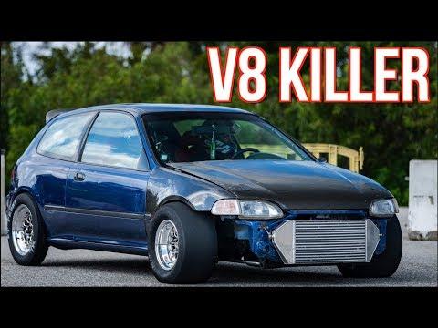 """V8 Killer"" Stock Engine Turbo Civic CALLS OUT 1000HP Turbo Camaro!"