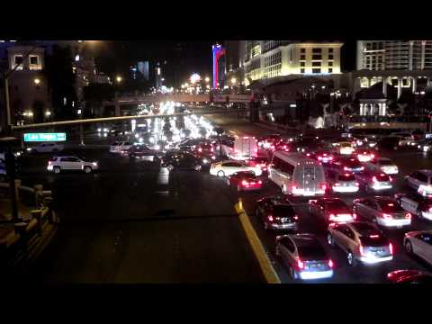 Hilarious traffic jam on Las Vegas Strip.