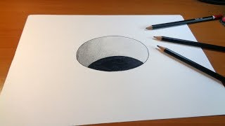 Drawing 3D Hole, How to draw 3d hole for kids
