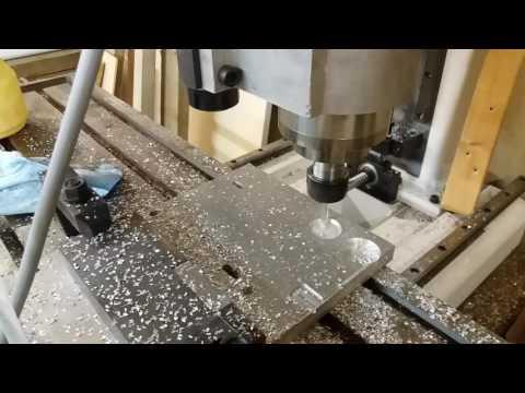 Diy cnc milling machine, first try on aluminium.