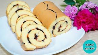 Bánh Bông Lan Cuộn Mứt Dâu Tây Nho Khô | Cách Làm Bánh Bông Lan Cuộn