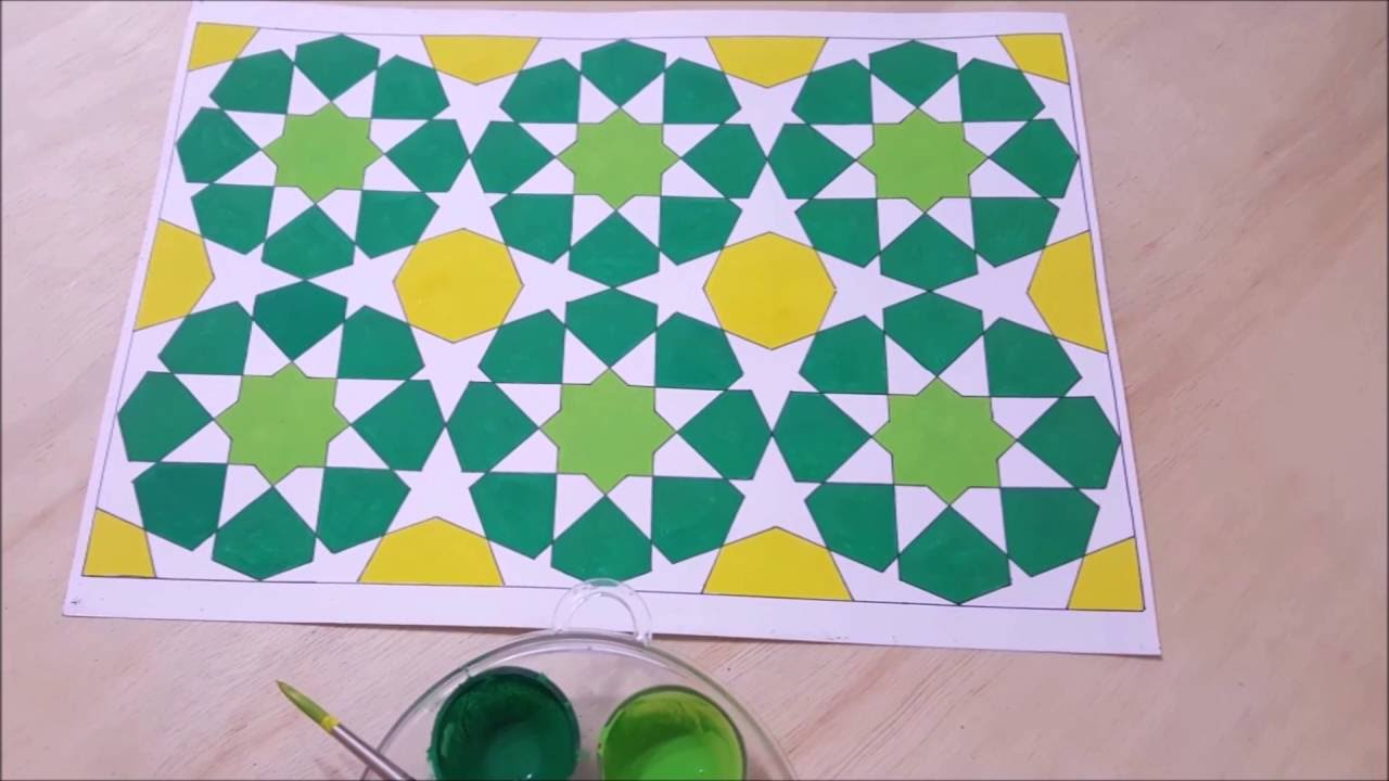 How To Draw An Islamic Geometric Pattern 2 With Repetition زخارف اسلامية هندسية Youtube