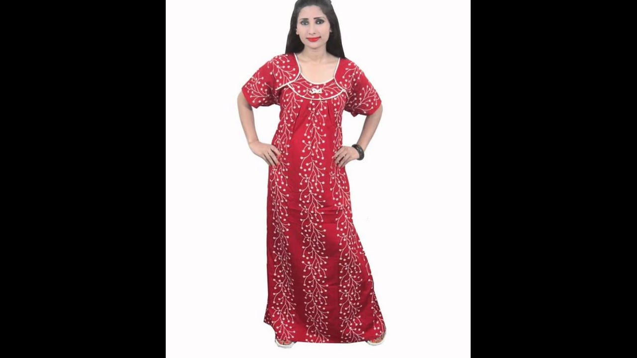 105588bf8c Indiatrendzs Womens Designer Hosiery Cotton Printed Nighty - YouTube