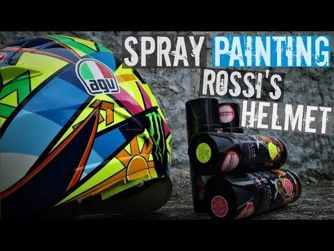 How to Paint Rossi's Helmet Soleluna 2016 With Spray Paint