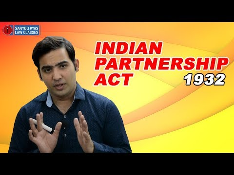 Indian Partnership Act 1932 |  Law lectures | Sanyog Vyas Classes