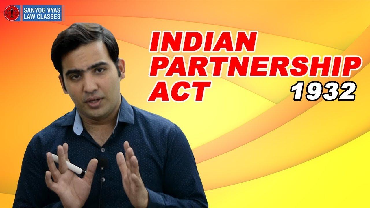 Indian Partnership Act  Law Lectures Sanyog Vyas Classes