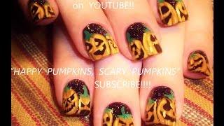 Nail Art Tutorial   Diy Halloween Nails   Jack O'lantern Pumpkins Design Designs