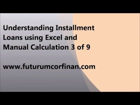 Understanding Installment Loans using Excel and Manual Calculation 3 of 9