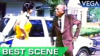 Meena Breaks The Car Near Hotels || Nadodi Mannan Tamil Movie || Best Scene