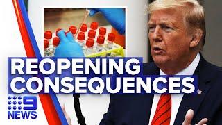 Coronavirus: Trump reopens America as death toll rises   Nine News Australia