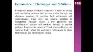 E-commerce: Challenges and Solutions