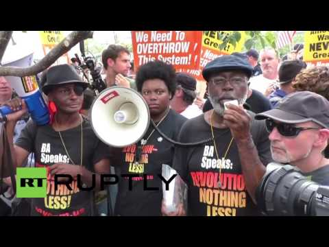 USA: Revolutionary Communist Party activists rally outside the RNC