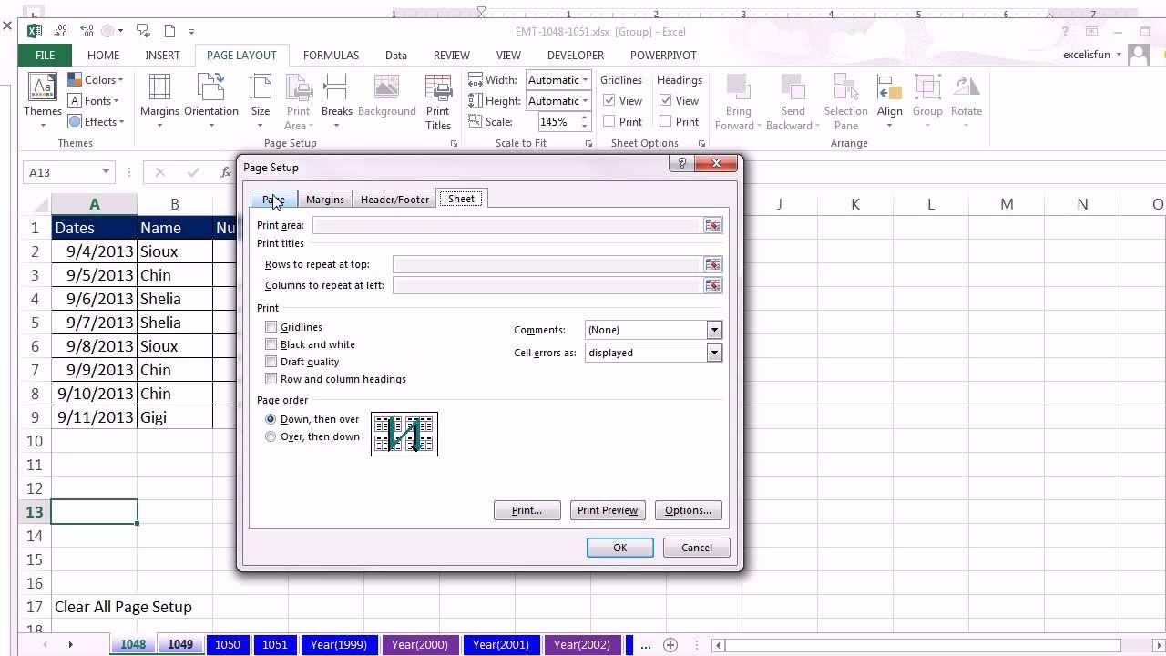 Excel M Gic Trick 1049 Copy P Ge Setup From E Sheet To Her