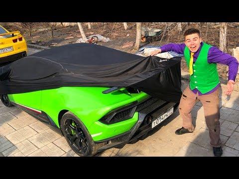 Mr. Joe found Car Keys & Started Race on Lamborghini Huracan w/ Nissan Cedric VS Camaro for Kids