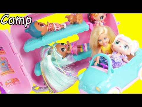 LOL Surprise Dolls Chelsea Family Babysit Barbie Camper in Goldie house