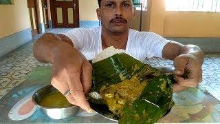 Massive Rice with Ilish Fish Paturi & Ilish Macher Matha Diye Kochu Shak