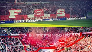choreo & Pyro Bayern Munchen fans in Düsseldorf • Fortuna Düsseldorf - Bayern Munchen • 14.04.2019