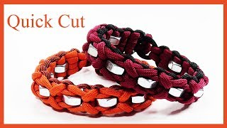 """Paracord Bracelet: """"Cloved Endless Falls"""" With Hex Nuts - Quick Cut"""