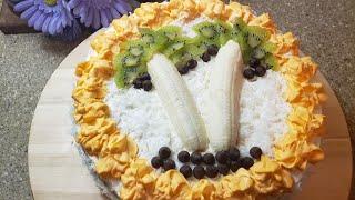 Фруктовый🍌 торт/Mevali tort tayorlaymiz.🥝