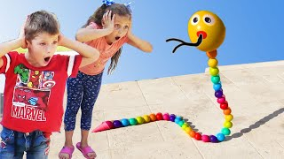Petro & Nadiia pretend play picnic toys and cardboard toys | Chiki-Piki