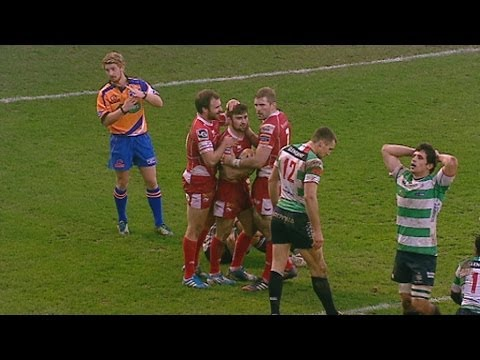 Jordan Williams evades cover for match winning Try - Benetton Treviso v Scarlets 8th February 2014