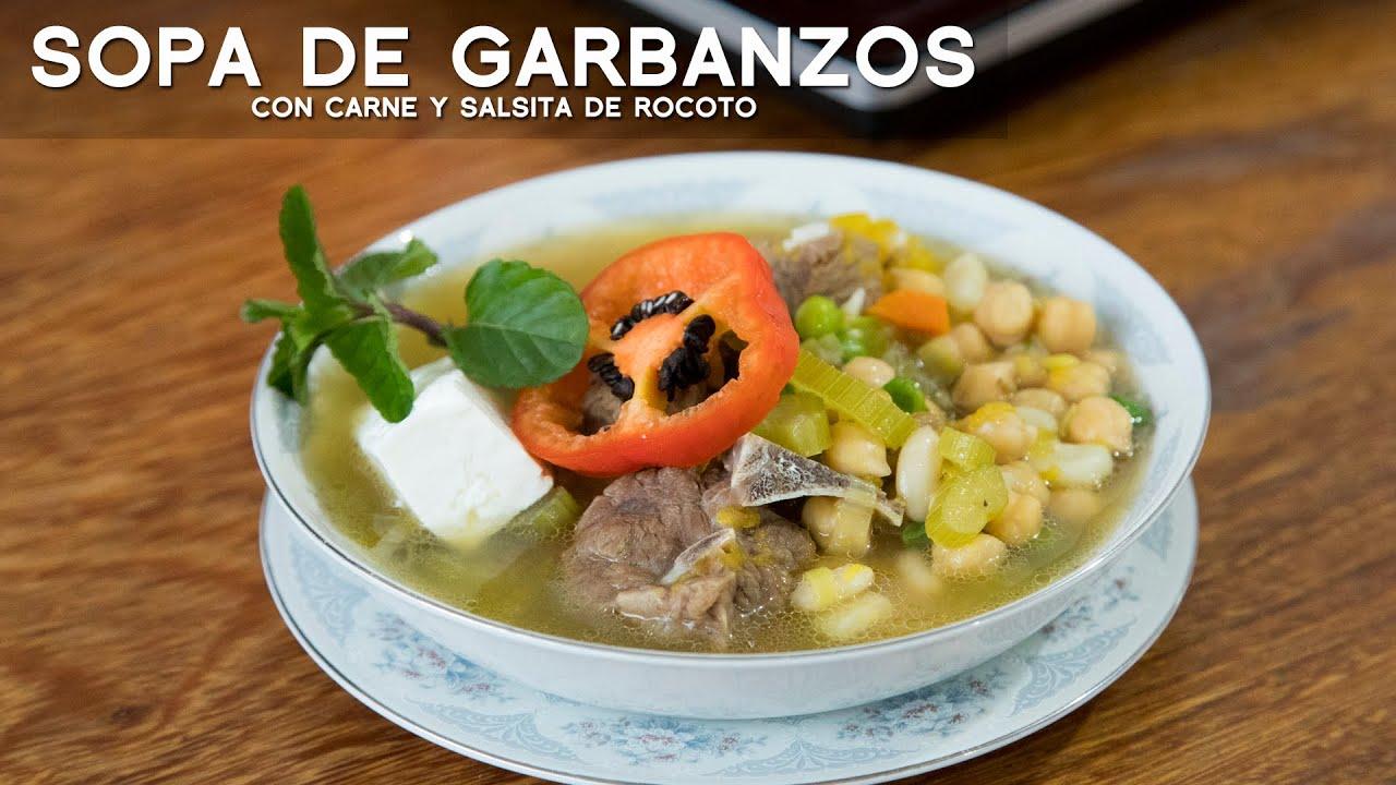 COMO PREPARAR SOPA DE GARBANZOS CON CARNE   ACOMER.PE   COMIDA PERUANA
