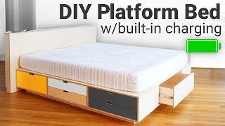 DIY Platform Bed with Lots of Storage and Built-in-Charging