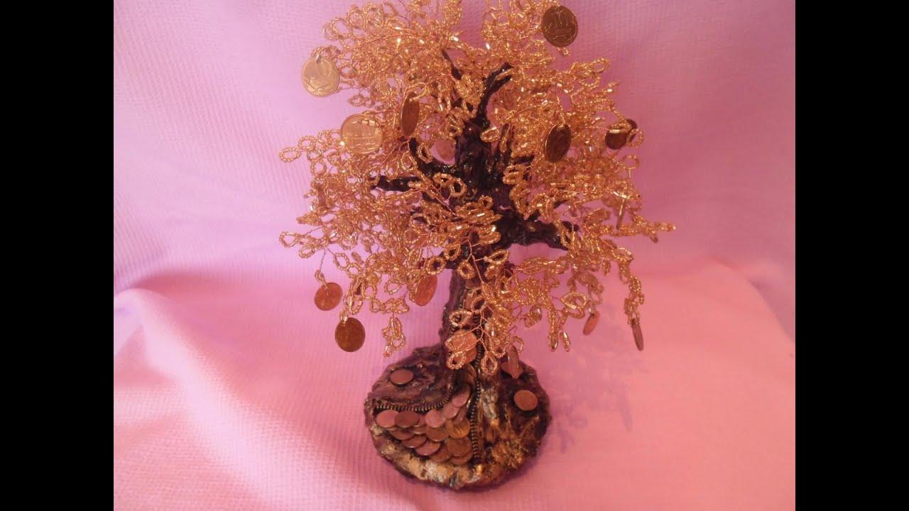 Как сделать денежное дерево с цветами из бисера
