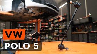 Hvordan udskiftes stabilisatorstag foran / stabstag foran on VW POLO 5 (612) [GUIDE AUTODOC]