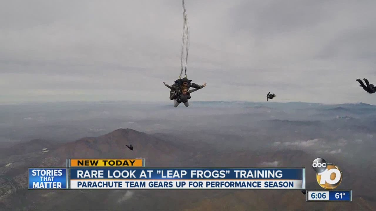 U.S. Navy SEALs of the Navy parachute team 'Leap Frogs' take