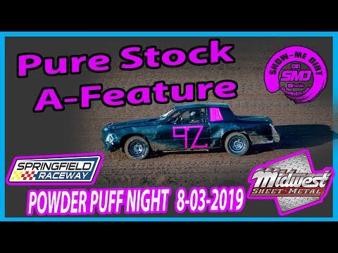 S03 E380 Pure Stock A-Feature - POWDER PUFF NIGHT Springfield Raceway 08-03-2019