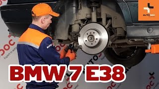 How to change rear brake discs and brake pads BMW 7 E38 TUTORIAL | AUTODOC