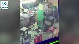 Horrific moment female factory worker is SCALPED after getting her hair caught in a machine