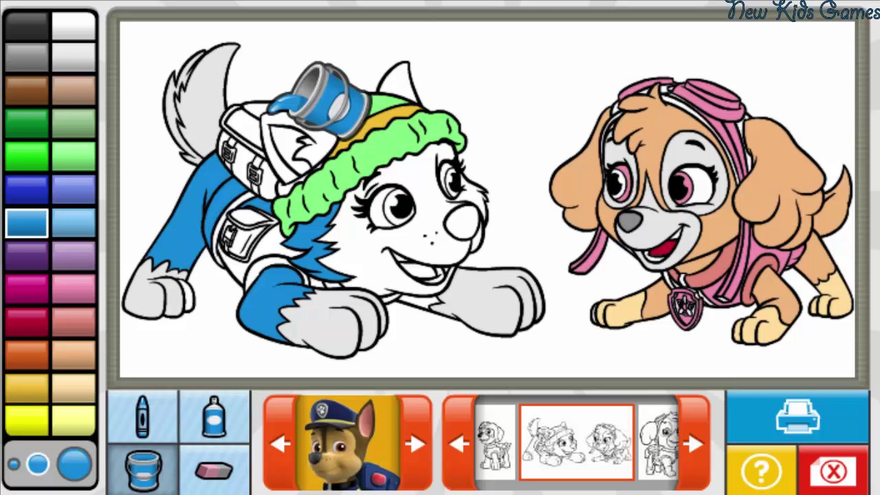 Paw Patrol Coloring Book Skye And Everest Coloring Pages Youtube