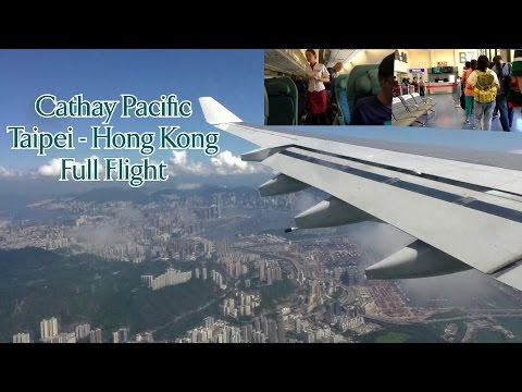 Full Flight on Cathay Pacific A340 from Taipei to Hong Kong with ATC