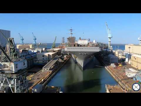 Carrier USS George Washington Leaves Dry Dock