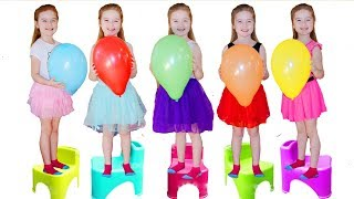 Five Little Babies Jumping on the Bed | Kids Song with Basketballs