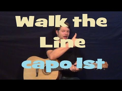 I Walk the Line (Johnny Cash) Easy Strum Guitar Lesson Chord Licks How to Play Tutorial