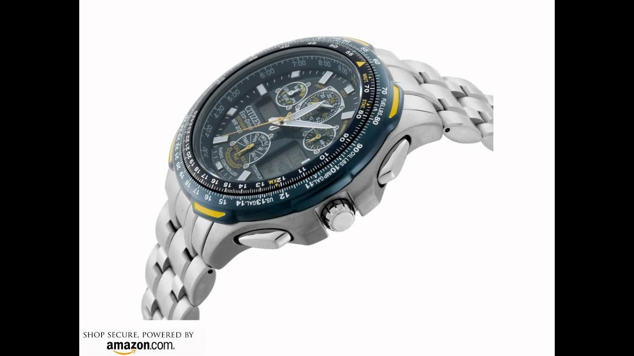 ad4084a53ac Citizen Men s JY0050-55L Eco-Drive Blue Angels Skyhawk A-T Chronograph Titanium  Watch