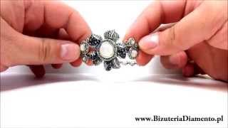 Srebrna bransoletka oksydowana z markazytami - Biżuteria Diamento