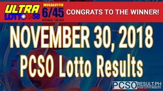 PCSO Lotto Results Today November 30, 2018 (6/58, 6/45, 4D, Swertres, STL & EZ2)