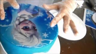 Bolo  infantil de pasta americana da Frozen Elsa e Olaf parte I