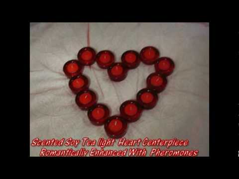 Valentines Day Soy Tealight Candle Heart Centerpiece