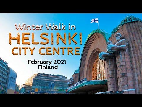 Winter Walk in Helsinki City Centre, February 2021, Finland [4K]