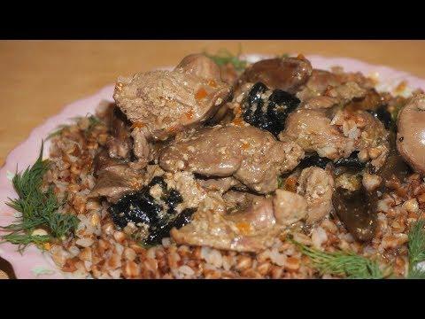 Куриные потроха с грибами, тушеные в сливках / Chicken Giblets With Mushrooms, Stewed In Cream