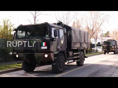 Italy: Military trucks transport coffins of coronavirus victims from Bergamo cemetery